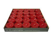 25 Teelichter Acryl Cup Rot Nightlights 8 Std Brennd transparente Hülle Wenzel