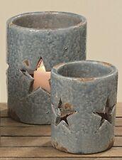 SET DE DOS SOPORTE DE VELA Candelero Terracota Azul Estrella