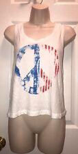 New Emma And Sam Peace USA White Knit Tank Crop Top Shirt LF Store M Women