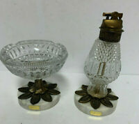 Vintage Cut Glass Ashtray, Cigarette Lighter with Brass Pedestal and Marble Base