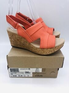 Clarks Women Annadel Ivory Adjustable Wedge Sandals Coral Leather US 6.5M #Box19