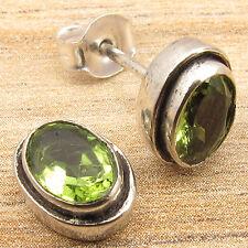 925 Silver Plated, Green Flash PERIDOT Gems Stud Earrings 1 cm FACTORY DIRECT