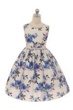Blue Flower Girl Floral Print Dress Pearls Wedding Party Easter Birthday New