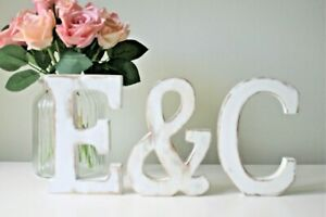 LARGE SHABBY CHIC LETTERS VINTAGE NAMES WHITE WOODEN 15cm TALL A-Z  ALPHABET