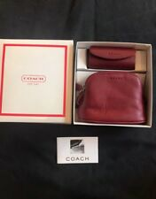 COACH Red Leather Coin Purse & Lipstick Case Holder Set NIB