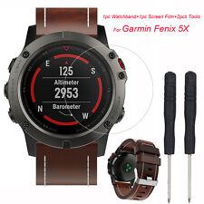 Retro Quick Release Leather Watch Band Wrist Strap HD Film For Garmin Fenix 5X