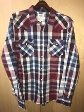 LEVIS Men Classic Western SHIRT Burgundy Blue PLAID Long Sleeve Snap Button XL