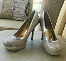 "Babyphat Chance Gold Glitter 4"" Platform Stilleto High Heels Closed Toe Size 8M"