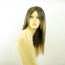 Perruque femme mi-longue Brun méché doré : VICTOIRE 1BT24B