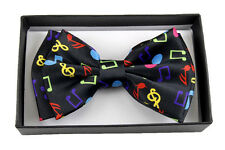 NEW Tuxedo Bow Tie RAINBOW COLORS MUSIC NOTES Mens Pre Tied Formal Bowtie IN BOX