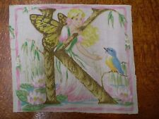 Vintage FAIRY LETTER 'K' Fabric Panel (17cm x 14cm)