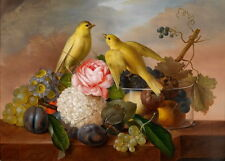 Art oil painting beautiful yellow birds with still fruits and flowers in sunset