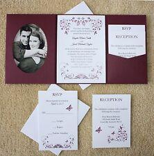 100 Personalized Custom Burgundy Butterfly Photo Pocket Wedding Invitations Set