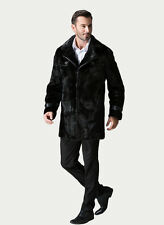 Mens real fur coat black mink double collar SAGA / MEXA/PELZMANTEL