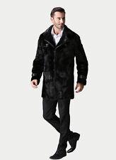 Mens real fur coat black mink double collar SAGA / MEXA/PELZMANTEL