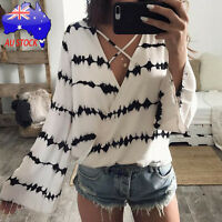 Women Loose Long Sleeve V-Neck Printed Tops Chiffon Casual Blouse T Shirt White