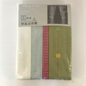 IKEA Fabler Bard Embroidered Panels Multicolor Heathered 47x98 New