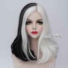 Lolita 40cm Curly Women Heat Resistant Cosplay White Mixed Black Wig + Cap