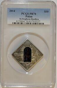 2014 Palau Silver Proof Sacred Art Holy Window Basilica St Stephens PCGS PR70
