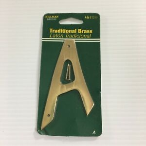 "Hillman Solid Brass Thin 4"" House Address Letter You Pick A-E, N, W"