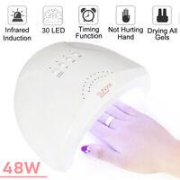 48W LED UV Nail Dryer Gel Polish Lamp Smart Fast Curing Machine Timer Salon USB