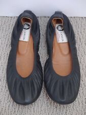 LANVIN black leather ballet flats shoes size 37 WORN ONCE