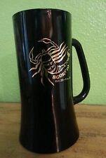 VTG RETRO BLACK MILK GLASS GOLD SCORPIO ASTROLOGICAL SIGN BEER MUG OCT 23-NOV 22