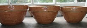 Nest of Three McCoy Pottery Bowls Girl Watering Can Window Box Flowers Pumpkin