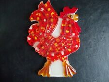 Vintage 1969 Acrylic Resin Calico Print Rooster Spoon rest or wall hanging!