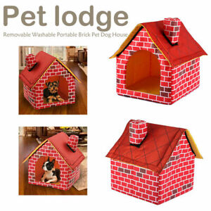 Washable Red Brick Pet House Cat Dog Bed Nest Kennel Cattery Tent Warm Products