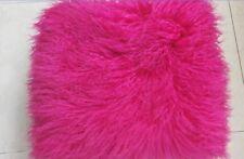 100% Real Mongolian Tibetan Lamb Fur Pillow Cushion Case SheepSkin Wool Rose Red