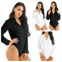 Women's One-Piece Bodysuit Blouse Top Leotard Button Down Shirt Turn-down Collar