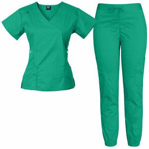 Medgear Women's 12-Pocket Stretch Jogger Scrub Set