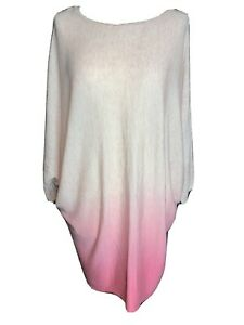 Phase Eight Ladies Pink Ombre Bat Wing Long Line Wool Blend Jumper Size M (A2)