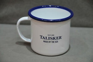 Talisker Whisky Made By The Sea Metal Camping Enamel Mug Tin Cup White New #02