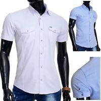 Mondo Mens Summer Shirt Short Sleeve Cotton Lilac Blue Slim Metal Badge Poppers