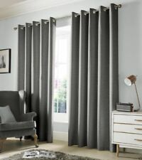 """One Pair of Ashley Wilde Plain Woven Detail Thick Monaco Eyelet Lined Curtains Dove 66"""" X 72"""""""