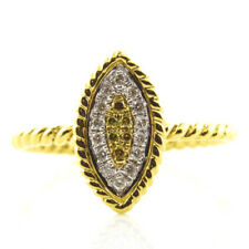 Real 0.20ct Natural Fancy Yellow Diamonds Engagement Ring 18K Solid Gold 6G