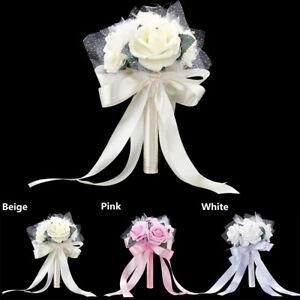 Romantic Crystal Flower Rose Bouquet Wedding Bride Bridesmaid Flower Wands #VJ