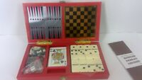 Multi Game Travel Size Set Chess Checkers Cribbage Dominoes Backgammon