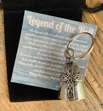 Celtic Cross GUARDIAN Bell of Good Luck gift fortune pet keychain gift for him