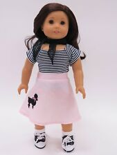 """Poodle Skirt Outfit Fits 18"""" Dolls like American Girl 50s Costume"""