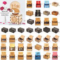 Musical Toys Retro Wooden Music Box Hand Crank Engraved Birthday Xmas Gift Decor