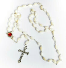 Hand Crafted Mother of Pearl Rosary with Holy Soil from Jerusalem Grounds