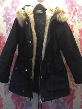 VERY Metallic Shimmer Blue Cream Fur Lined Hood Parka Jacket Coat Size 12