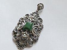 Anhänger grüner marmorierter Edelstein 835er Silver Vintage 30er Pendant