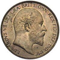 1903 PENNY - EDWARD VII BRITISH BRONZE COIN - SUPERB