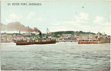 St.Peter Port Guernsey (prob. SS Reindeer)-early postcard by A.Le Cheminant