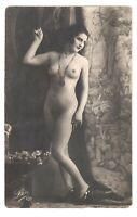 French nude woman lady vintage original photo postcard RPPC /514
