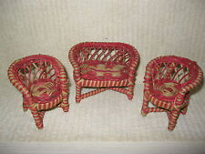 VINTAGE 1940's WICKER DOLLHOUSE LOVE SEAT / SETTEE 2 CHAIRS & TABLE
